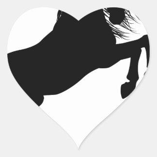 Rearing Unicorn Silhouette Heart Sticker