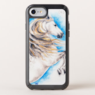 Rearing White Andalusian horse Watercolor art Speck iPhone Case