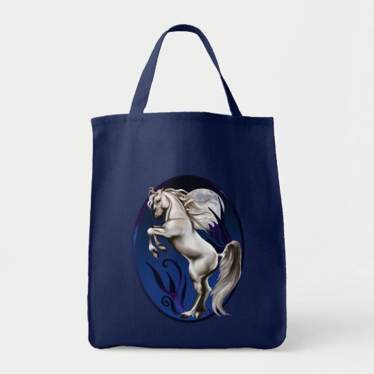 Rearing White Horse Oval Bag
