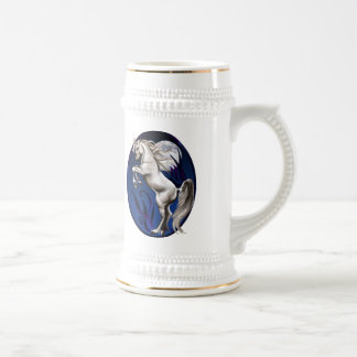 Rearing White Horse Oval Beer Stein