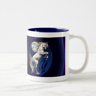 Rearing White Horse Oval_bev Two-Tone Coffee Mug