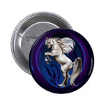 Rearing White Horse Oval Button