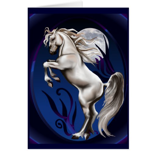 Rearing White Horse Oval Card