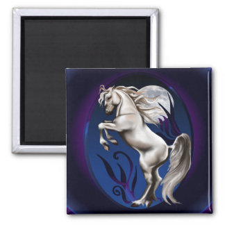 Rearing White Horse Oval Magnet