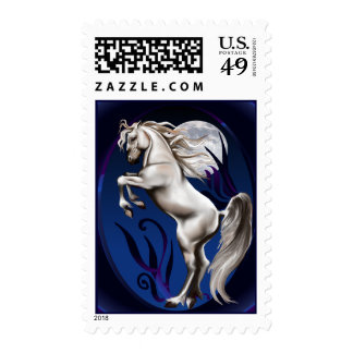Rearing White Horse Oval Postage
