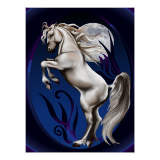 Rearing White Horse Oval Poster