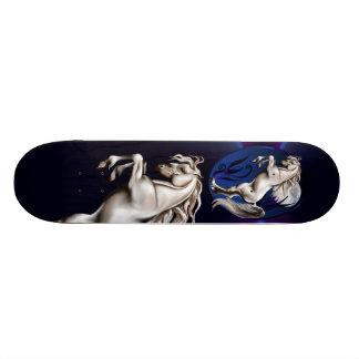 Rearing White Horse Oval Skateboard