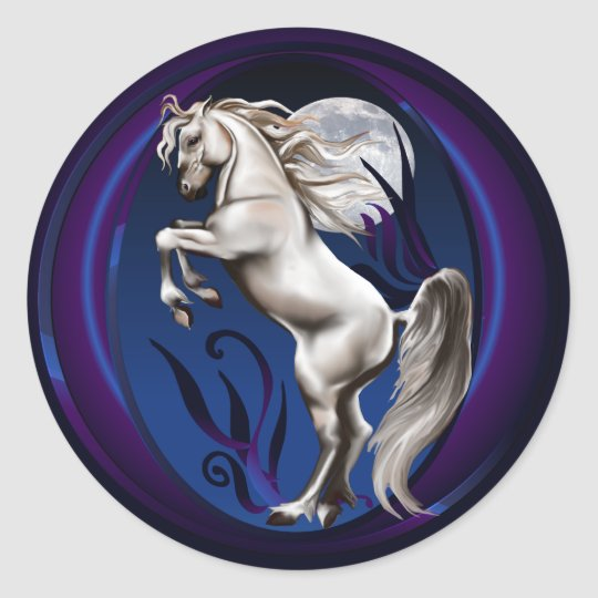 Rearing White Horse Oval Sticker
