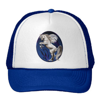 Rearing White Horse Oval Trucker Hat