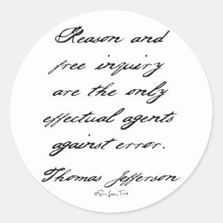 Reason by Jefferson Classic Round Sticker