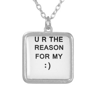 Reason For My Smile Square Pendant Necklace