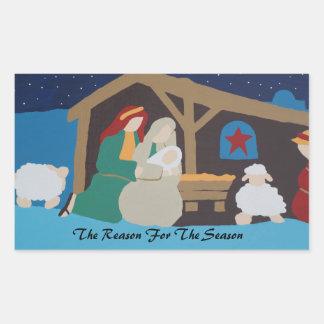 Reason for the season, manger scene. Christmas Rectangle Sticker