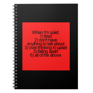 REASONS WHY I'M QUIET FALLING APART UPSET FAKE NOT SPIRAL NOTEBOOK