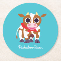 Reba the Cow Round Paper Coaster