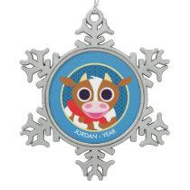 Reba the Cow Snowflake Pewter Christmas Ornament