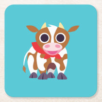Reba the Cow Square Paper Coaster