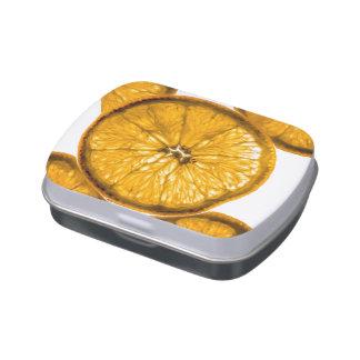 Rebanada anaranjada jugosa jarrones de dulces