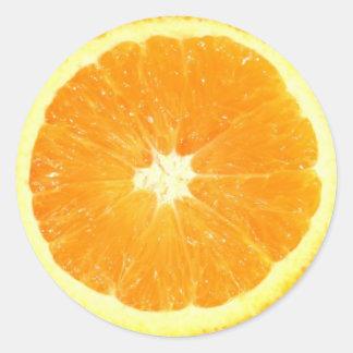 Rebanada anaranjada etiquetas redondas