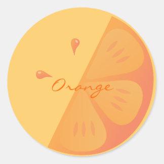 Rebanada anaranjada pegatina redonda