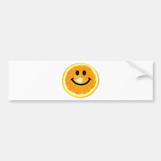 Rebanada anaranjada sonriente etiqueta de parachoque