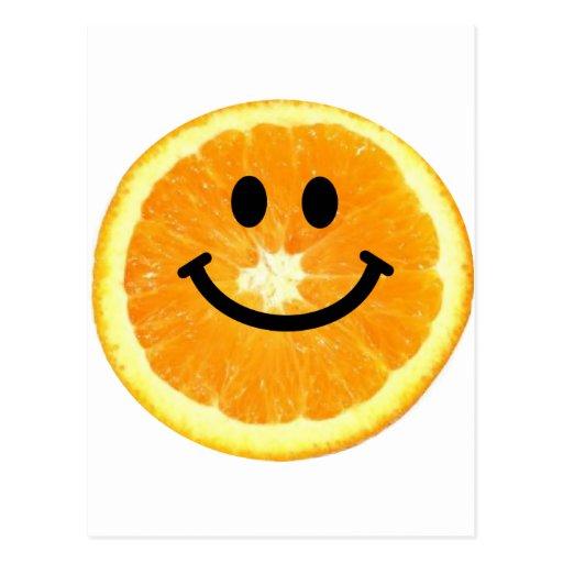 Rebanada anaranjada sonriente tarjeta postal