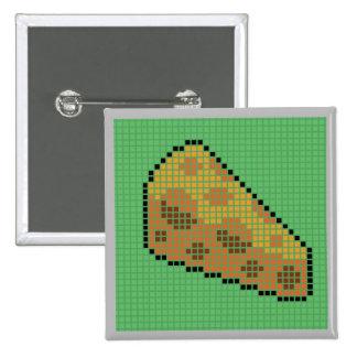 Rebanada Blocky del queso con el fondo verde Pin Cuadrada 5 Cm