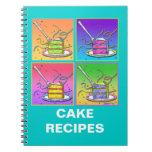Rebanada de cuaderno de la receta de la torta
