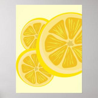 Rebanada de impresión del limón póster