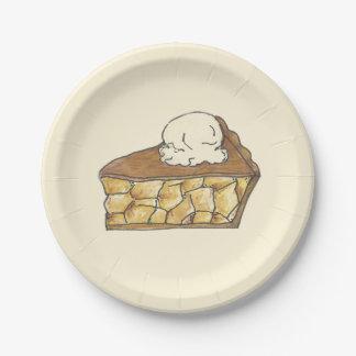 Rebanada de la empanada de Apple con las placas de Plato De Papel De 7 Pulgadas