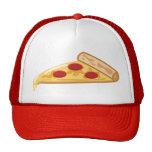 Rebanada de la pizza del dibujo animado gorro de camionero