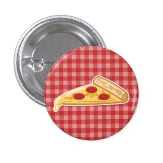 Rebanada de la pizza del dibujo animado pin redondo de 1 pulgada