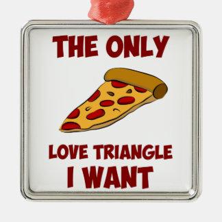 Rebanada de la pizza - el único triángulo de amor adorno navideño cuadrado de metal