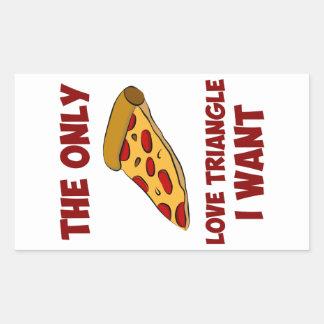 Rebanada de la pizza - el único triángulo de amor pegatina rectangular