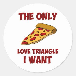 Rebanada de la pizza - el único triángulo de amor pegatina redonda