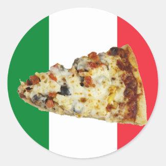 Rebanada de la pizza en colores de la bandera ital pegatinas redondas