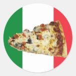 Rebanada de la pizza en colores de la bandera pegatinas redondas