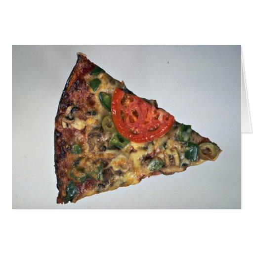 Rebanada de la pizza para los amantes de la comida tarjeta de felicitación