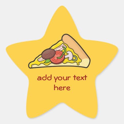 Rebanada de la pizza calcomanía forma de estrella personalizadas