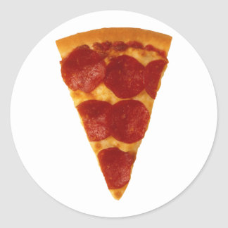 Rebanada de la pizza etiquetas redondas