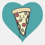 Rebanada de la pizza pegatina de corazón