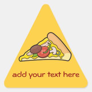 Rebanada de la pizza pegatina triangular