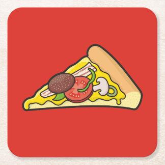 Rebanada de la pizza posavasos personalizable cuadrado