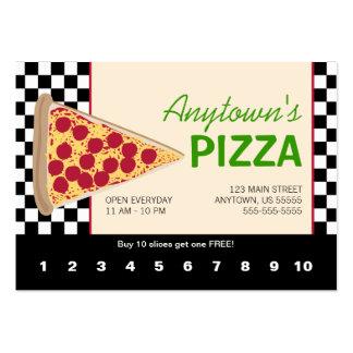 Rebanada de la pizza y lealtad negra de la pizza tarjetas de visita grandes