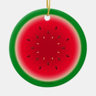 Rebanada de la sandía adorno navideño redondo de cerámica
