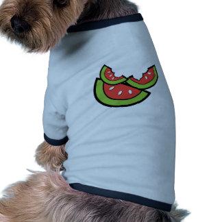 Rebanada de la sandía camisetas de perro