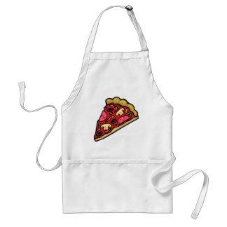 Rebanada de la seta y de la pizza de salchichones delantal