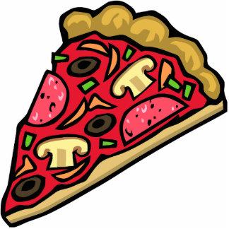 Rebanada de la seta y de la pizza de salchichones fotoescultura vertical