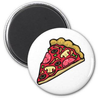 Rebanada de la seta y de la pizza de salchichones imán redondo 5 cm