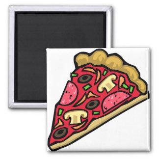 Rebanada de la seta y de la pizza de salchichones imán cuadrado