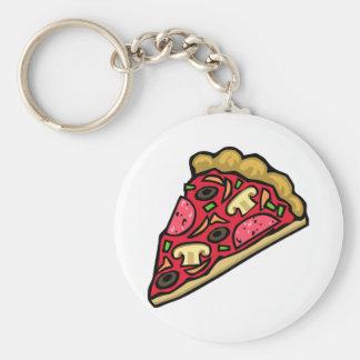 Rebanada de la seta y de la pizza de salchichones llavero redondo tipo pin